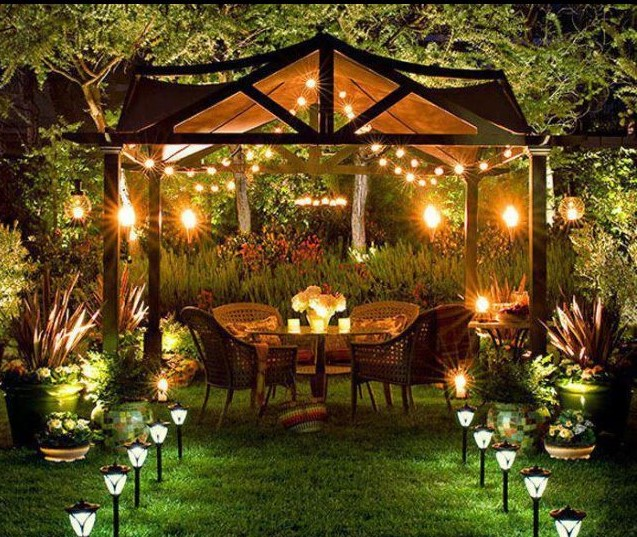 date night in a garden or backyard